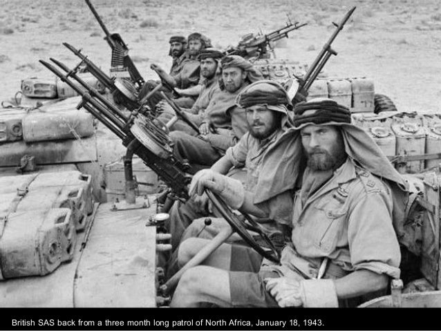 British SAS back from a three month long patrol of North Africa, January 18, 1943.