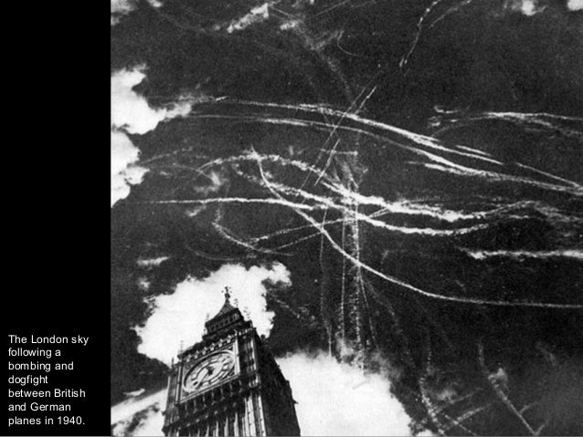The London sky following a bombing and dogfight between British and German planes in 1940.