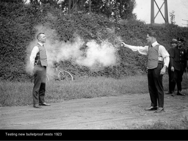 Testing new bulletproof vests 1923