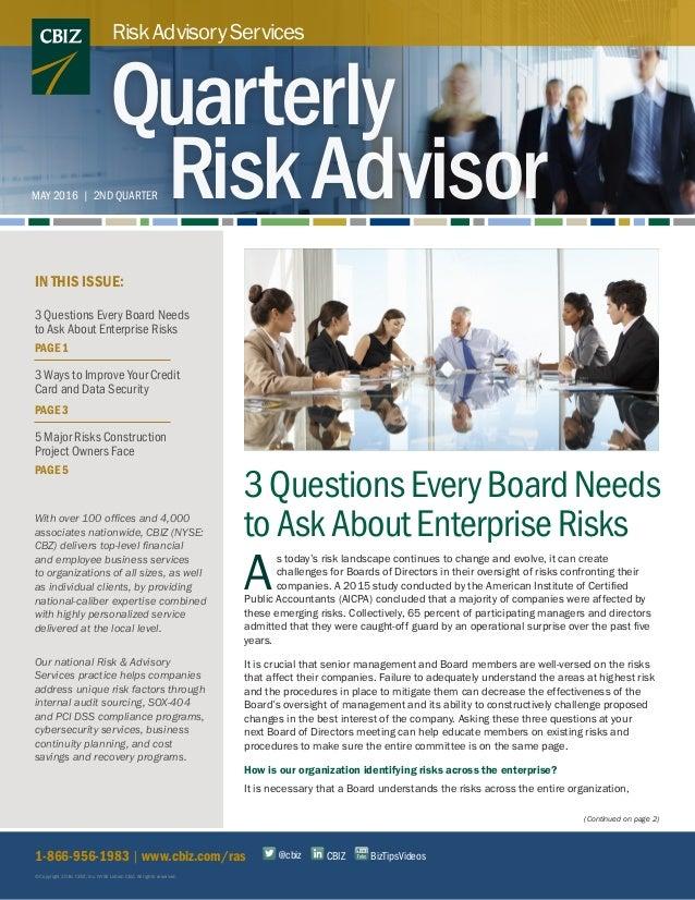 Risk & Advisory Services: Quarterly Risk Advisor May 2016