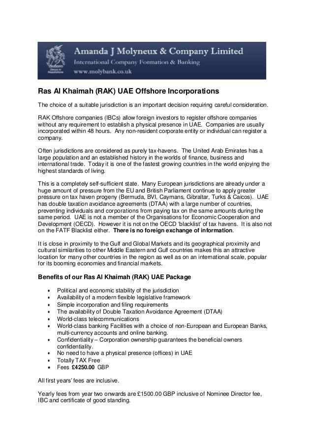Ras Al Khaimah Rak Offshore Incorporations