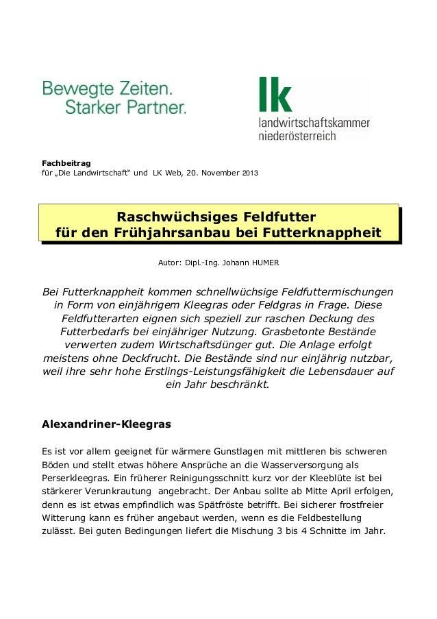 """Fachbeitrag für """"Die Landwirtschaft"""" und LK Web, 20. November 2013  Raschwüchsiges Feldfutter für den Frühjahrsanbau bei F..."""