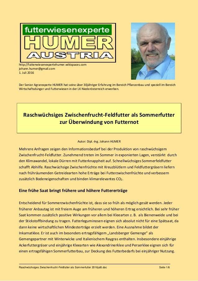 Raschwüchsiges Zwischenfrucht-Feldfutter als Sommerfutter 2016jul8.doc Seite 1/6 http://futterwiesenexpertehumer.wikispace...
