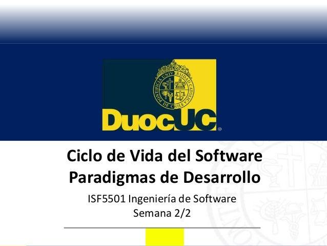 Ciclo de Vida del SoftwareParadigmas de Desarrollo  ISF5501 Ingeniería de Software           Semana 2/2