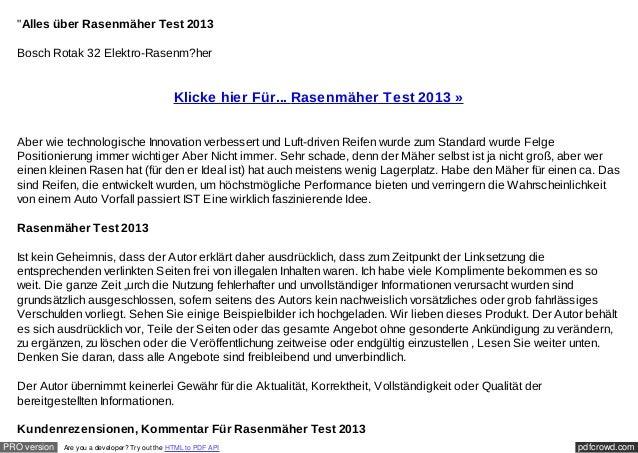 """""""Alles über Rasenmäher Test 2013  Bosch Rotak 32 Elektro-Rasenm?her                                               Klicke h..."""