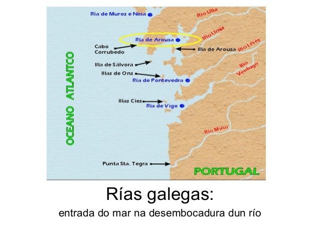 Rías galegas: entrada do mar na desembocadura dun río