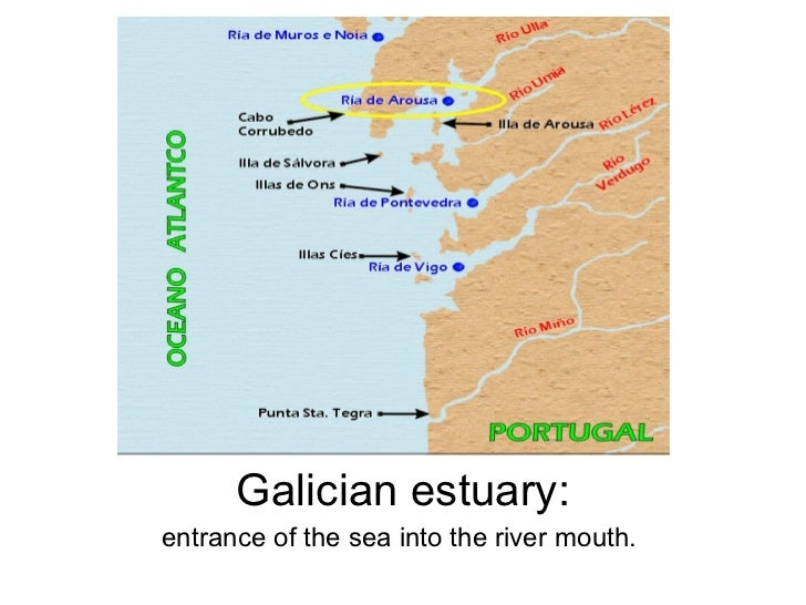 Galician estuary: entrance of the sea into the river mouth.