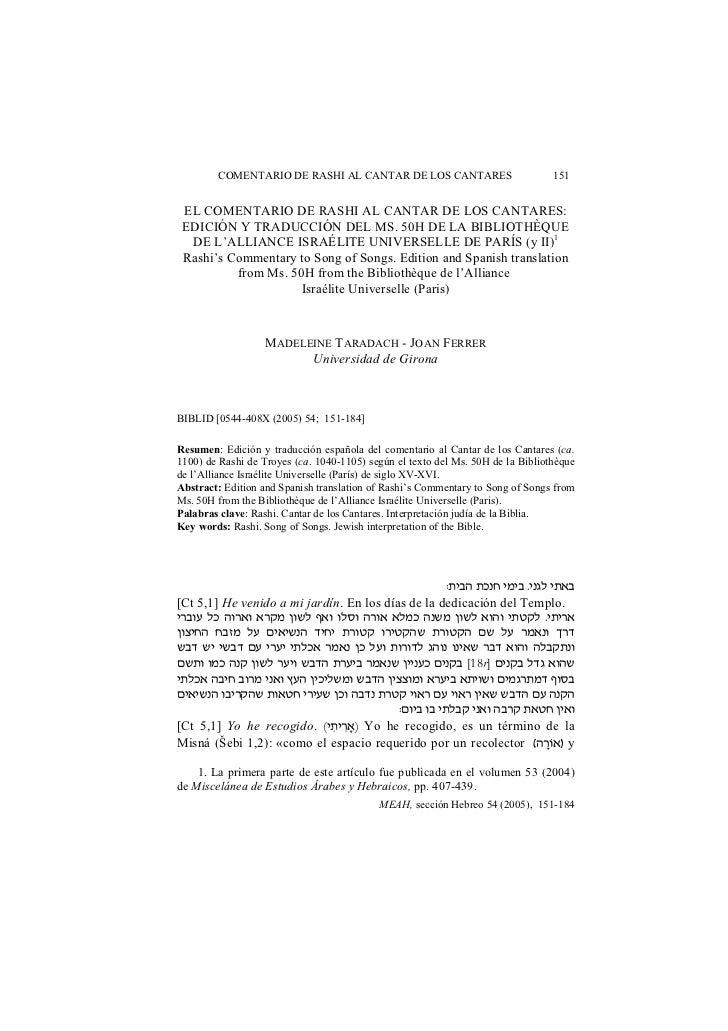COMENTARIO DE RASHI AL CANTAR DE LOS CANTARES                            151 EL COMENTARIO DE RASHI AL CANTAR DE LOS CANTA...