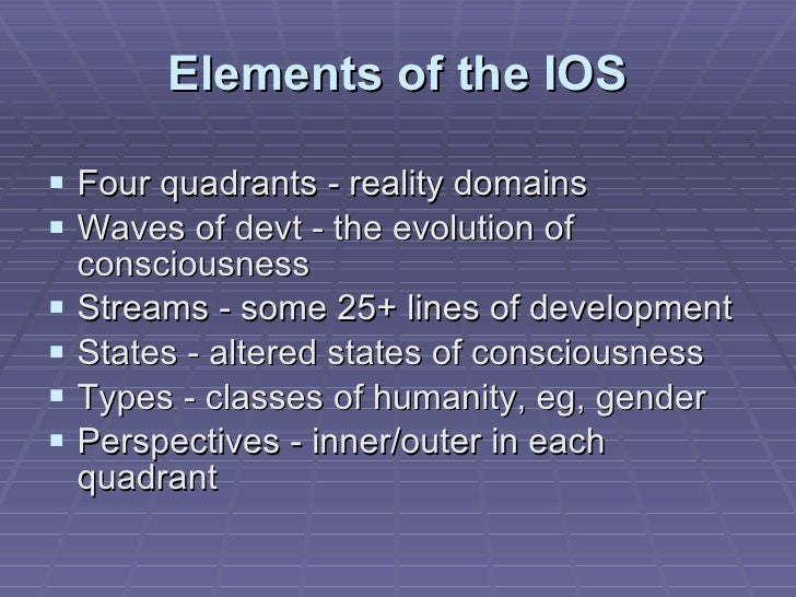 Elements of the IOS <ul><li>Four quadrants - reality domains </li></ul><ul><li>Waves of devt - the evolution of consciousn...