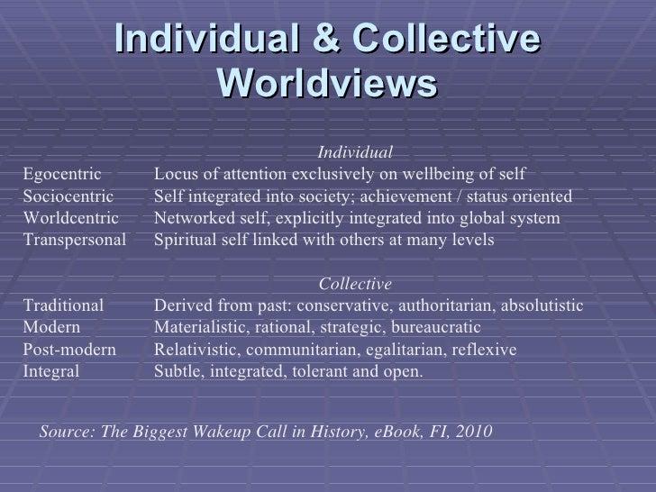 Individual & Collective Worldviews <ul><ul><ul><li>Individual </li></ul></ul></ul><ul><li>Egocentric  Locus of attention e...