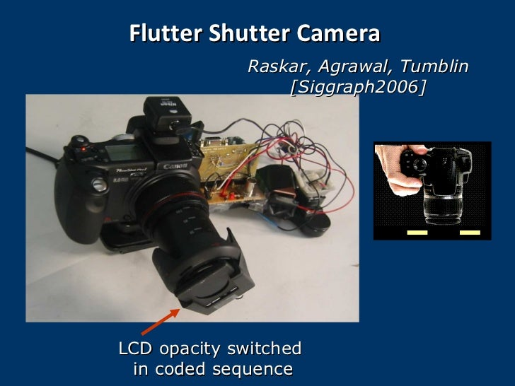 Flutter Shutter Camera Raskar, Agrawal,