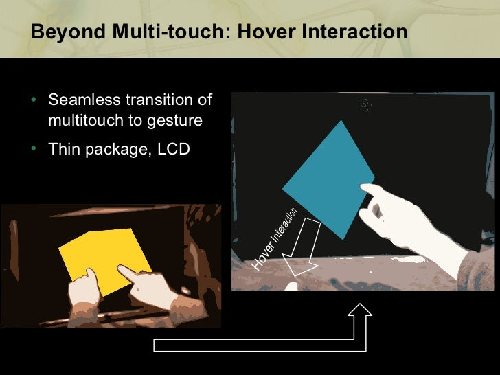Beyond Multi-touch: Hover Interaction <ul><li>Seamless
