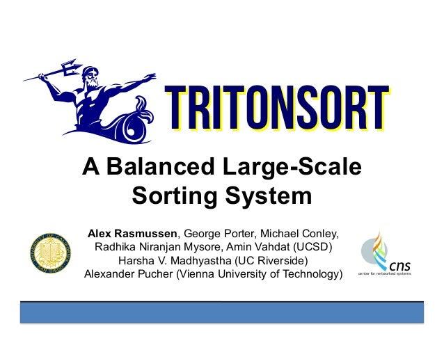 TritonSort A Balanced Large-Scale Sorting System Alex Rasmussen, George Porter, Michael Conley, Radhika Niranjan Mysore, A...