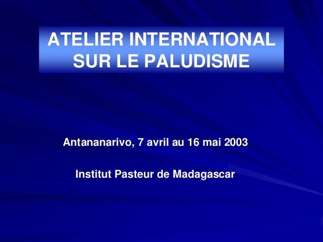 ATELIER INTERNATIONAL  SUR LE PALUDISME Antananarivo, 7 avril au 16 mai 2003   Institut Pasteur de Madagascar