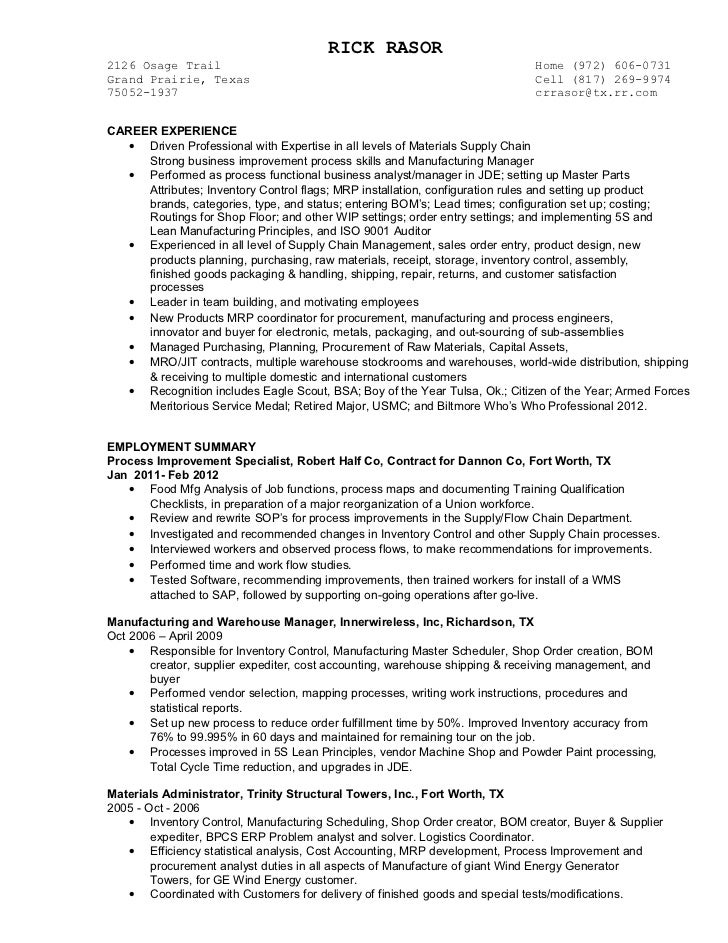 inventory control manager resume