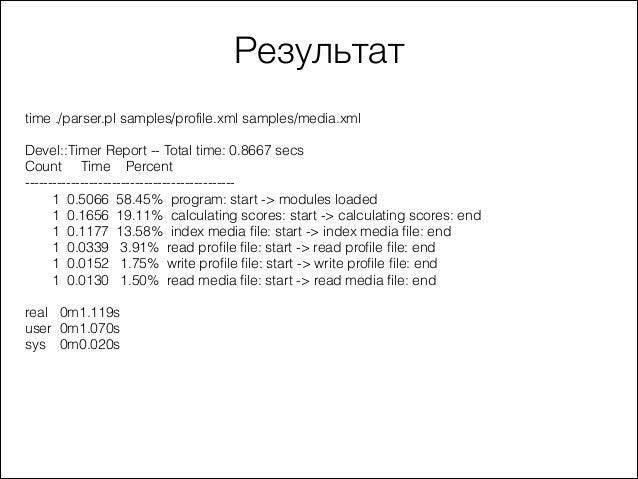 Результат time ./parser.pl samples/profile.xml samples/media.xml  ! Devel::Timer Report -- Total time: 0.8667 secs Count T...