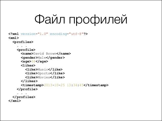 "Файл профилей <?xml version=""1.0"" encoding=""utf-8""?> <xml> <profiles> . . . <profile> <name>David Brown</name> <gender>Mal..."