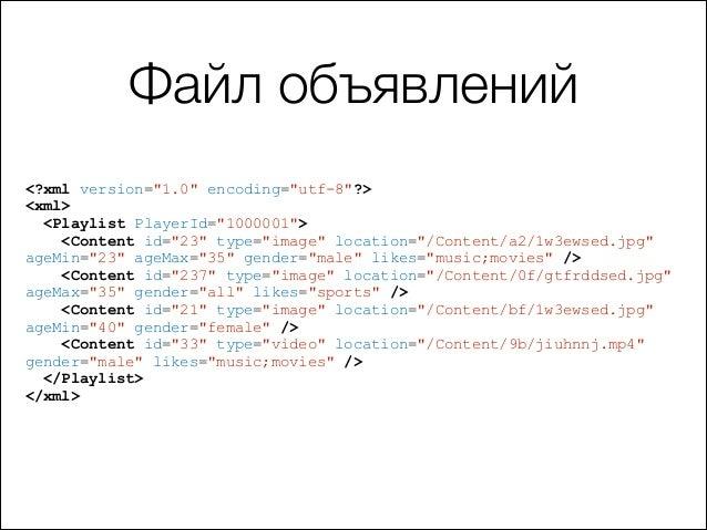 "Файл объявлений <?xml version=""1.0"" encoding=""utf-8""?> <xml> <Playlist PlayerId=""1000001""> <Content id=""23"" type=""image"" l..."