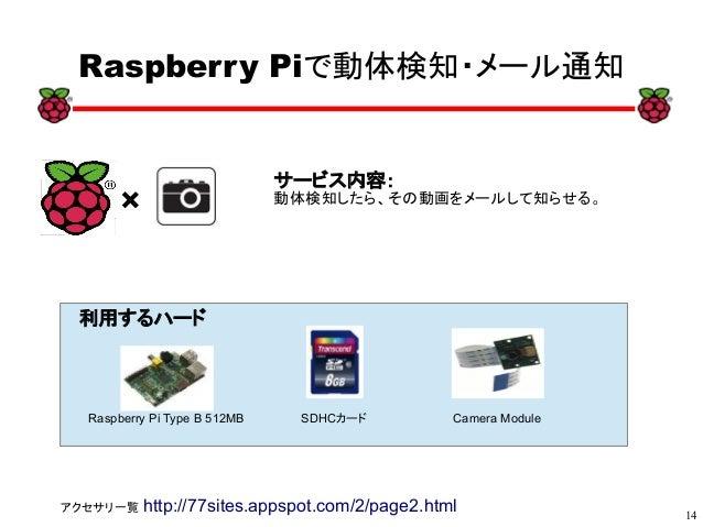 14 xx Raspberry Piで動体検知・メール通知 サービス内容: 動体検知したら、その動画をメールして知らせる。 利用するハード Raspberry Pi Type B 512MB SDHCカード Camera Module アクセサ...