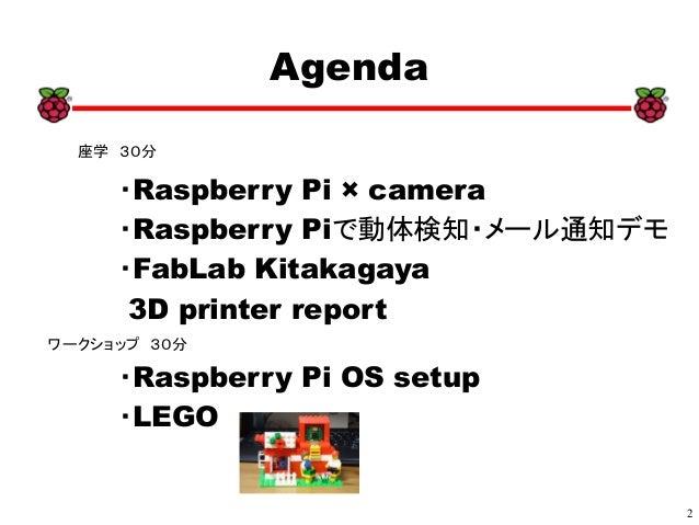 2 xx  ・Raspberry Pi × camera  ・Raspberry Piで動体検知・メール通知デモ  ・FabLab Kitakagaya 3D printer report  ・Raspberry Pi OS setup  ・L...