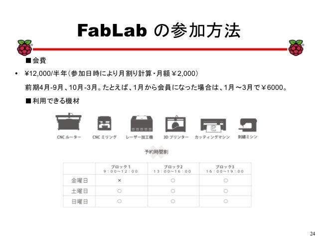 24 xx FabLab の参加方法 ■会費 ● ¥12,000/半年(参加日時により月割り計算・月額¥2,000) 前期4月-9月、10月-3月。たとえば、1月から会員になった場合は、1月~3月で¥6000。 ■利用できる機材