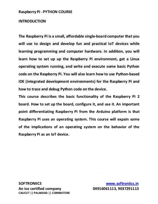 Raspberry pi course syllabus