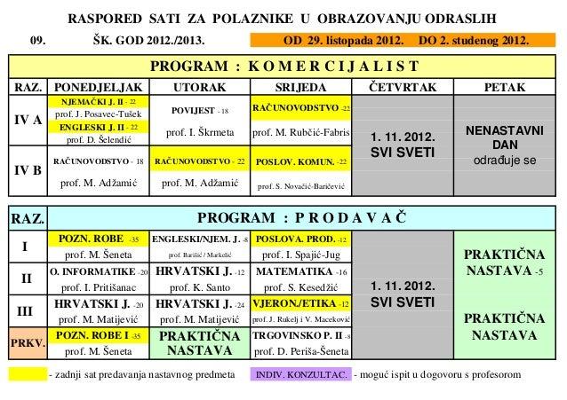 RASPORED SATI ZA POLAZNIKE U OBRAZOVANJU ODRASLIH     09.             ŠK. GOD 2012./2013.                                 ...