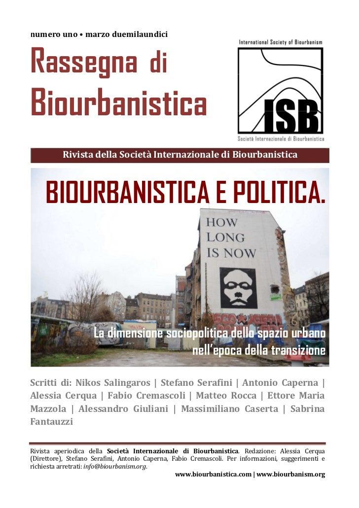 numero uno • marzo duemilaundiciRassegna diBiourbanistica          Rivista della Società Internazionale di Biourbanistica ...