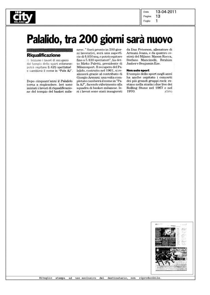 Rassegna inizio lavori Palalido Milano