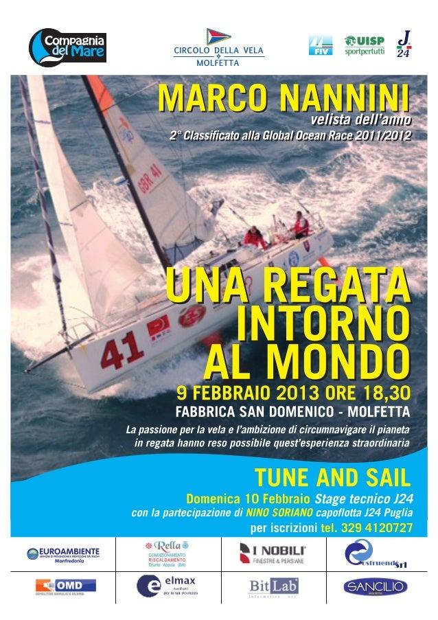9 Febbraio 2013  Estratto da www.molfettalive.it  Altri Sport Per la sua regata intorno al Mondo 09/02/2013  Marco Nannini...