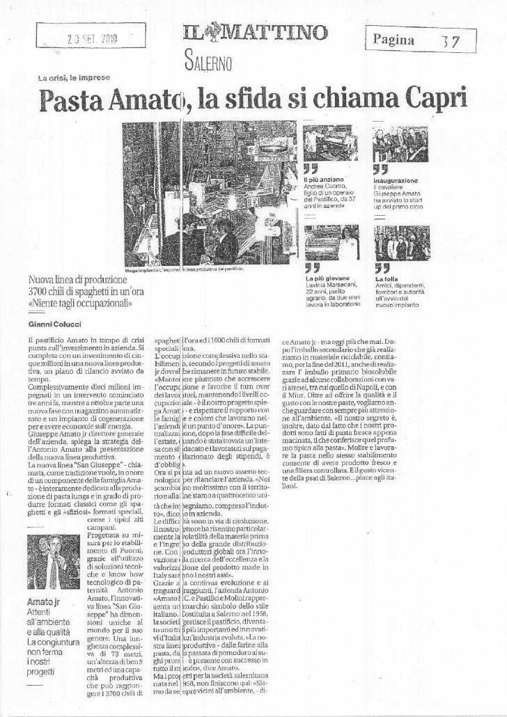 Pasta Antonio Amato - Rassegna Stampa di Salerno del 23 settembre 2010