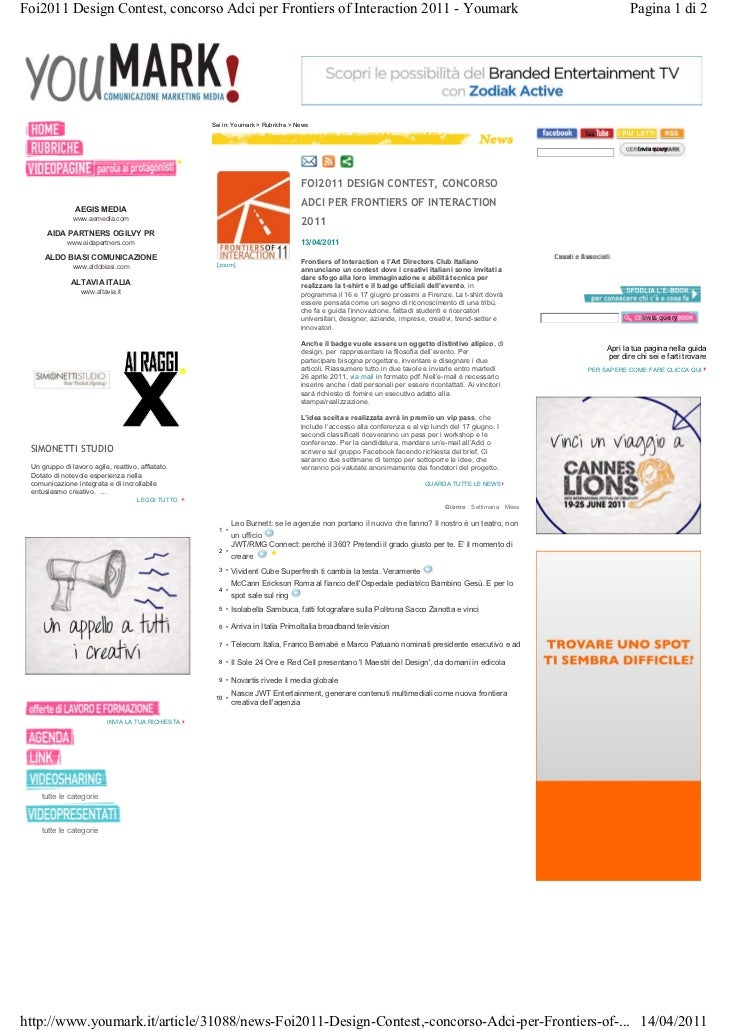 Foi2011 Design Contest, concorso Adci per Frontiers of Interaction 2011 - Youmark                                         ...