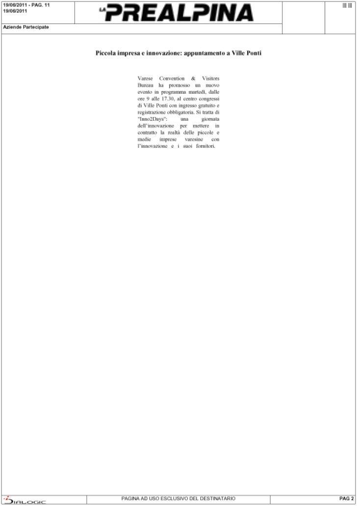 Rassegna stampa di Inno2Days: La Prealpina