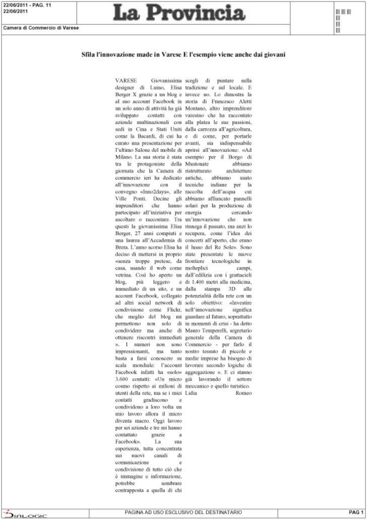 Rassegna stampa di Inno2Days: La Provincia