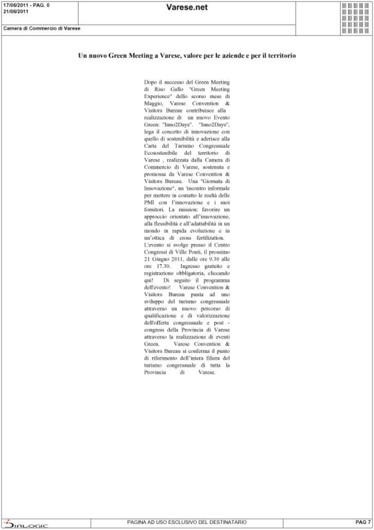 Rassegna stampa di Inno2Days: Varese.net del 17 giugno