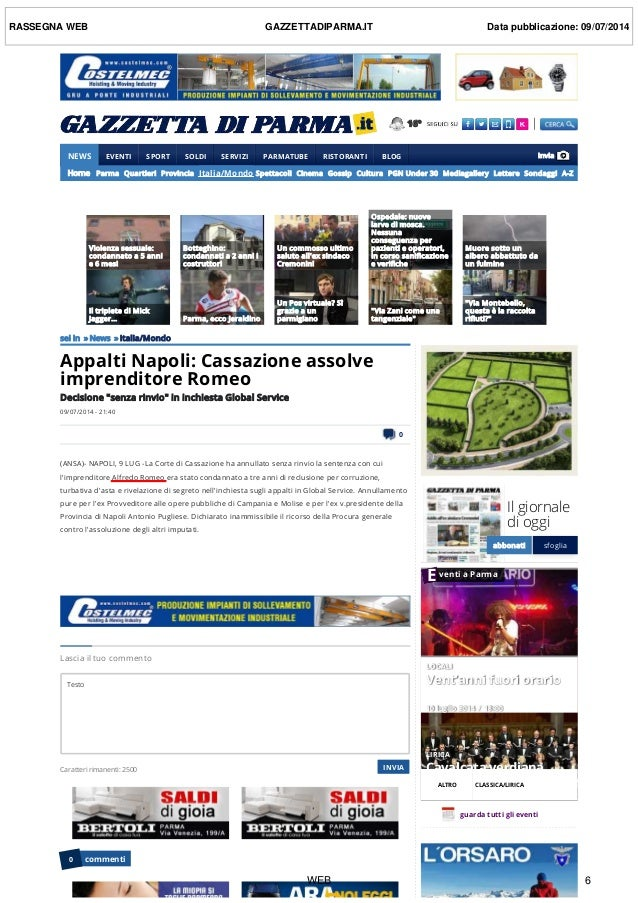 16° NEWS  EVENTI  SPORT  SOLDI  SERVIZI  PARMATUBE  RISTORANTI  BLOG Home Parma Quartieri Provincia Italia/Mond...