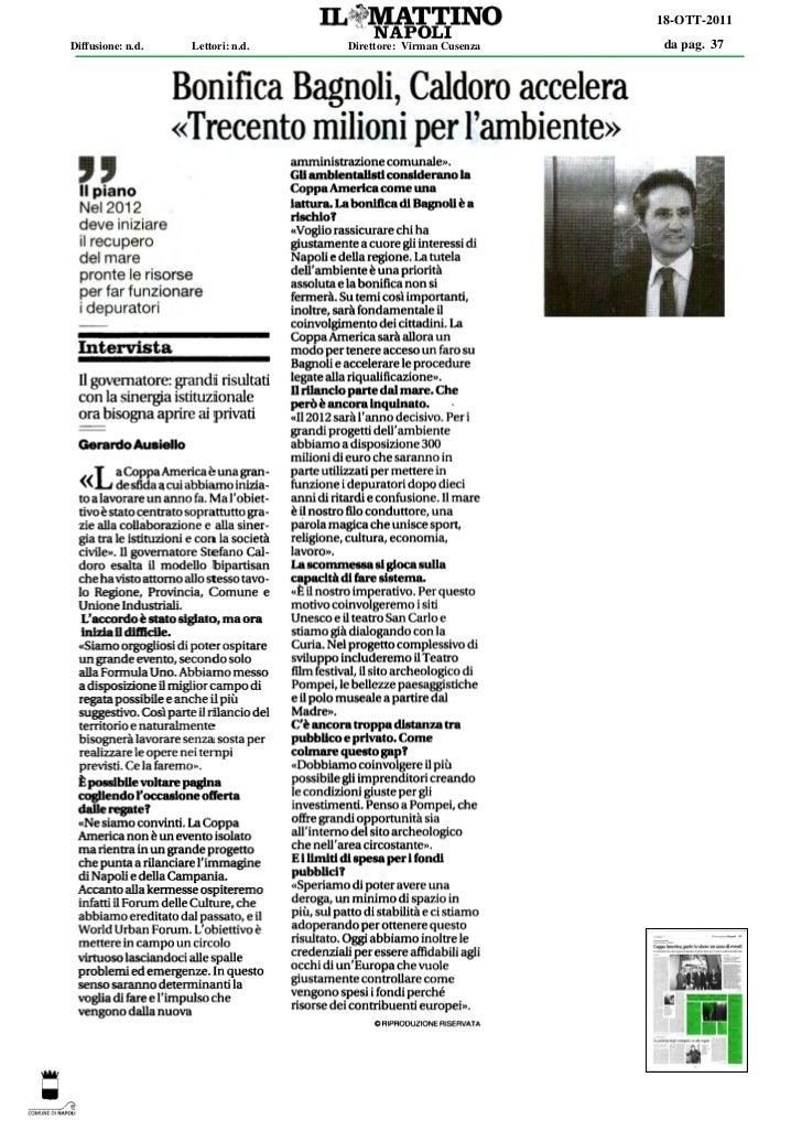 18-OTT-2011Diffusione: n.d.   Lettori: n.d.   Direttore: Virman Cusenza   da pag. 37