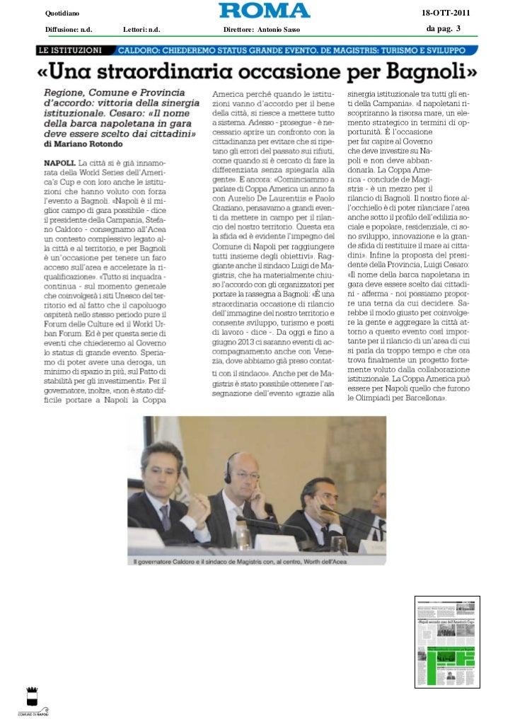 Quotidiano                                                    18-OTT-2011Diffusione: n.d.   Lettori: n.d.   Direttore: Ant...
