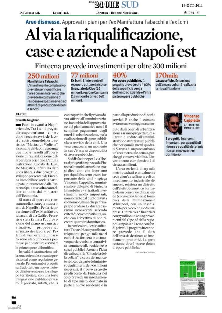 19-OTT-2011Diffusione: n.d.   Lettori: n.d.   Direttore: Roberto Napoletano   da pag. 9