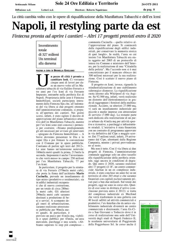 Settimanale Milano                   Sole 24 Ore Edilizia e Territorio         24-OTT-2011Diffusione: n.d.     Lettori: n....