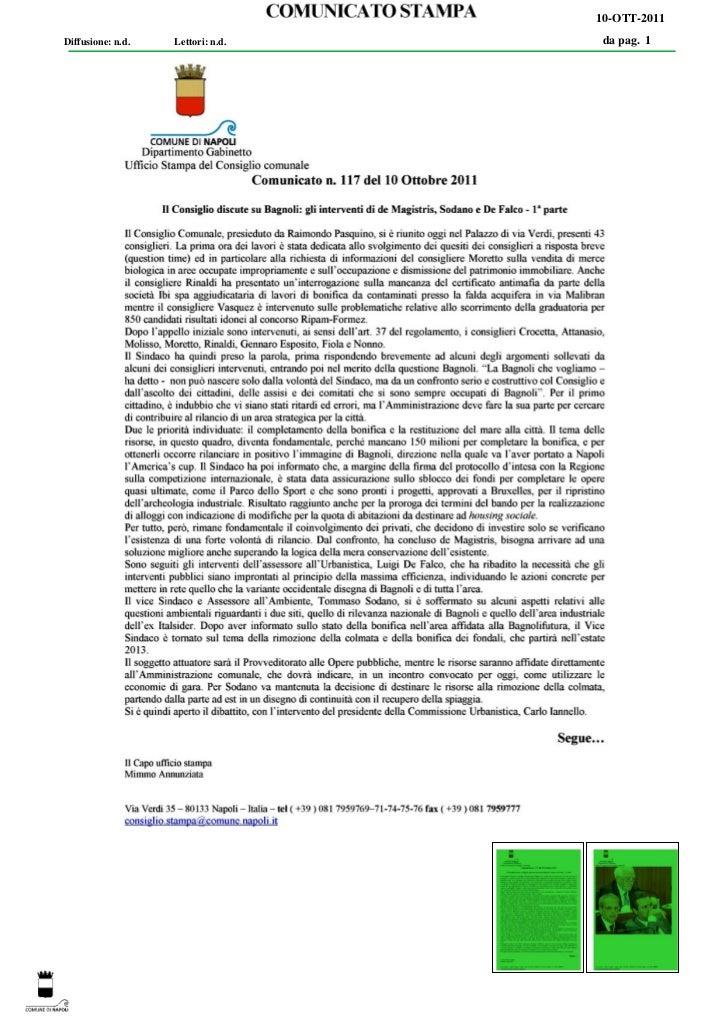 10-OTT-2011Diffusione: n.d.   Lettori: n.d.   da pag. 1