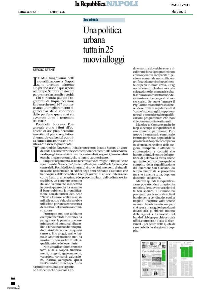 19-OTT-2011Diffusione: n.d.   Lettori: n.d.   da pag. 1