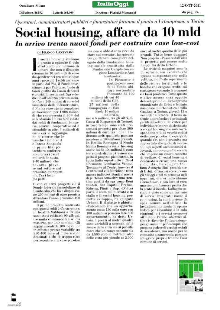 Quotidiano Milano                                                        12-OTT-2011Diffusione: 86.892   Lettori: 164.000 ...