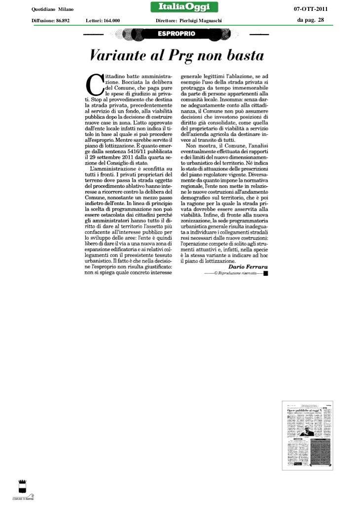Quotidiano Milano                                                        07-OTT-2011Diffusione: 86.892   Lettori: 164.000 ...