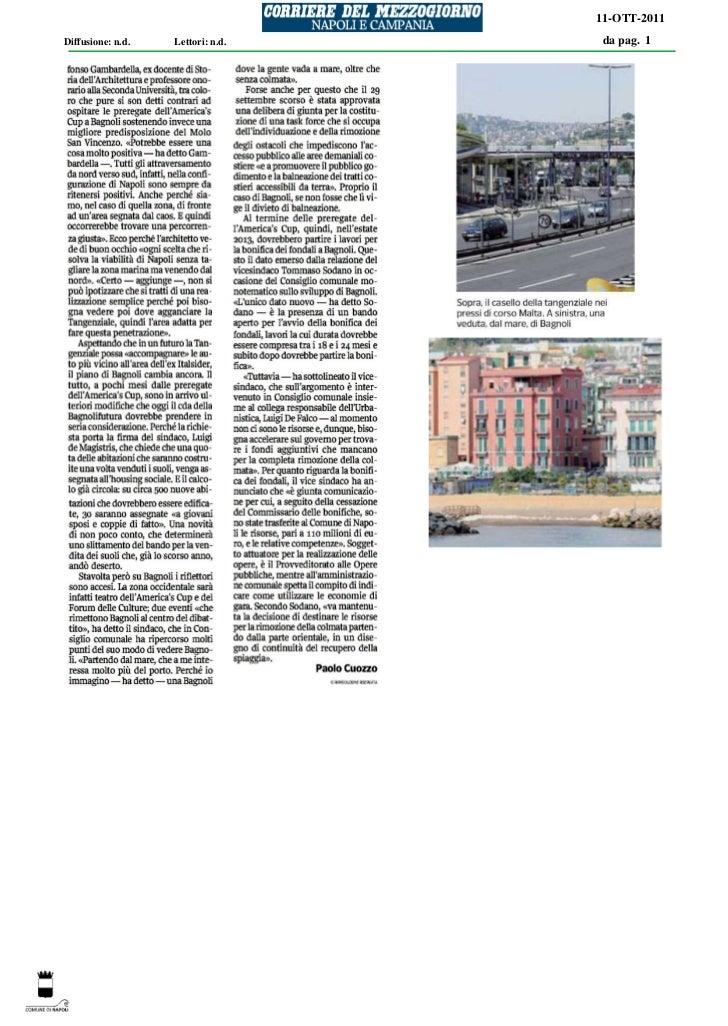 11-OTT-2011Diffusione: n.d.   Lettori: n.d.   da pag. 1