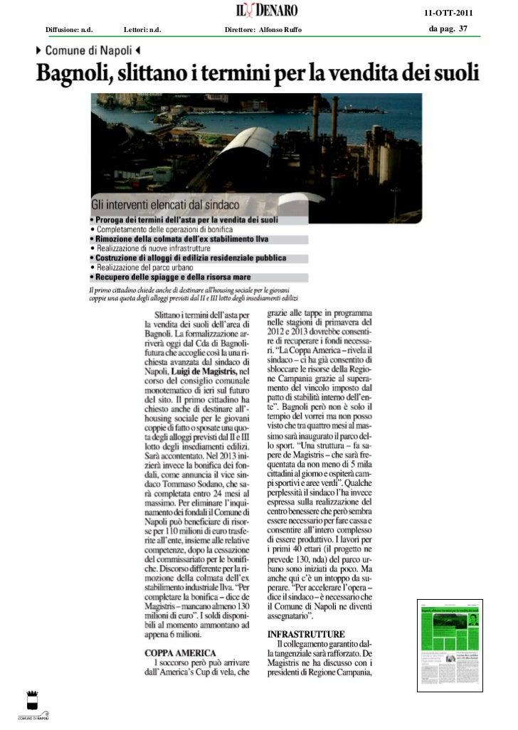 11-OTT-2011Diffusione: n.d.   Lettori: n.d.   Direttore: Alfonso Ruffo   da pag. 37