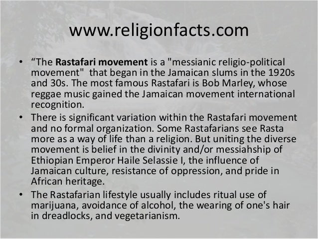 a history of rastafarianism a religious movement Announcing his conversion to rastafarianism on monday (july 30), the rapper   the religious movement doesn't require converts to change their names   edmonds, author of a forthcoming history of the religious movement.