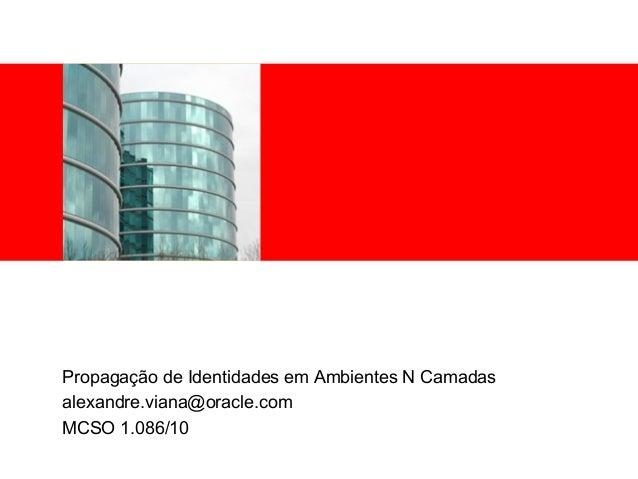 <Insert Picture Here> Propagação de Identidades em Ambientes N Camadas alexandre.viana@oracle.com MCSO 1.086/10