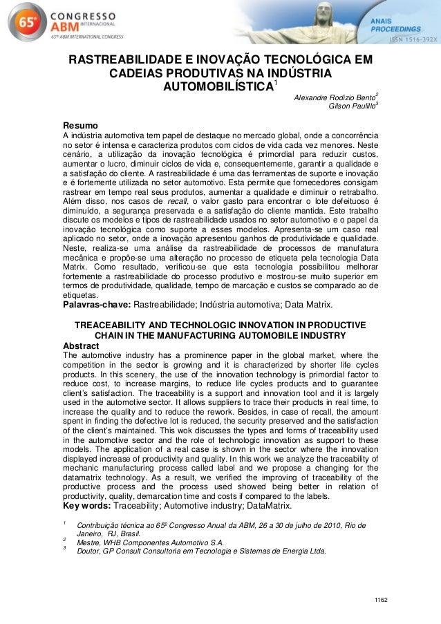 RASTREABILIDADE E INOVAÇÃO TECNOLÓGICA EM         CADEIAS PRODUTIVAS NA INDÚSTRIA                 AUTOMOBILÍSTICA1        ...