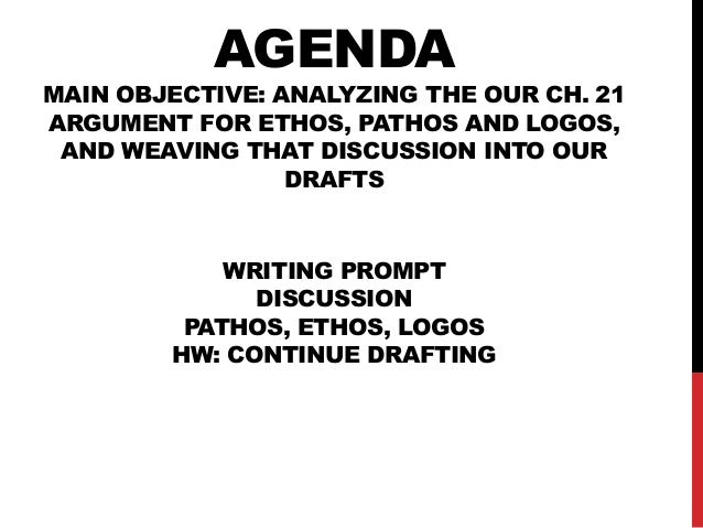 AGENDA  MAIN OBJECTIVE: ANALYZING THE OUR CH. 21 ARGUMENT FOR ETHOS, PATHOS AND LOGOS, AND WEAVING THAT DISCUSSION INTO OU...